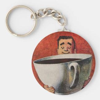 Vintager glücklicher Mann, der riesige Schale Schlüsselanhänger