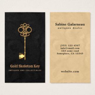 Vintager Goldantiken-Skeleton Visitenkarte