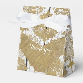 Vintager Golddamast und weiße hölzerne Hochzeit Geschenkschachtel