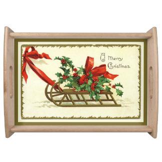 Vintager goldener frohe WeihnachtenSleigh Tablett