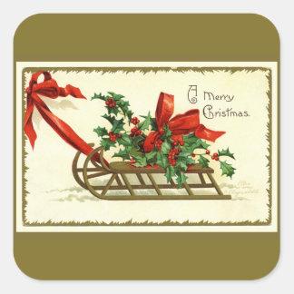 Vintager goldener WeihnachtsSleigh Quadratischer Aufkleber