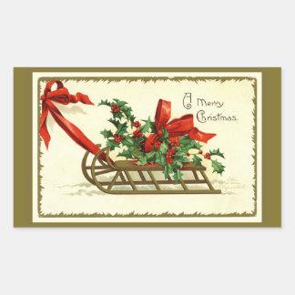 Vintager goldener WeihnachtsSleigh Rechteckiger Aufkleber