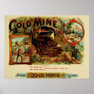 Vintager Goldminen-Zigarren-Druck Poster
