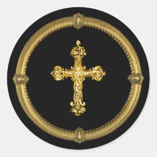 Vintager Goldtone Kreuz-und Runder Aufkleber