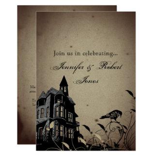 Vintager gotischer Haus-Schädel-Raben-Jahrestag 12,7 X 17,8 Cm Einladungskarte