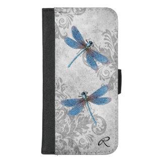 Vintager grauer Grunge-Damast und Libellen iPhone 8/7 Plus Geldbeutel-Hülle