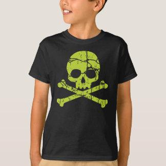 Vintager grüner Schädel und gekreuzte Knochen T-Shirt
