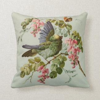 Vintager grüner Vogel und rosa Blumen Kissen