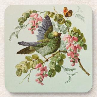 Vintager grüner Vogel und rosa Blumen Untersetzer