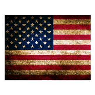 Vintager Grunge-amerikanische Flagge Postkarte