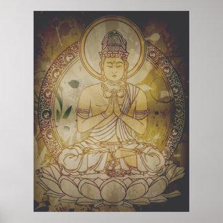 Vintager Grunge Buddha Poster