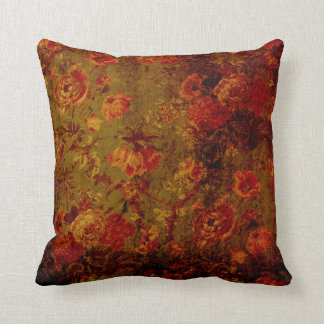 Vintager Grunge-Kissen-Rote mit BlumenBlumen auf Kissen