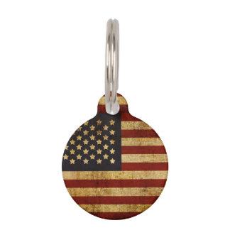 Vintager Grunge patriotische amerikanische Flagge Haustiermarke