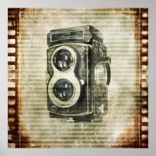 Vintager Grunge-Retro Kamerafilm städtisch Posterdruck