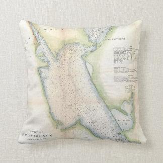 Vintager Hafen von Karte Providence Rhode Island Kissen