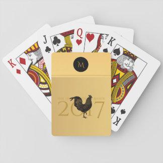 Vintager Hahn-chinesisches neues Jahr-Monogramm Spielkarten