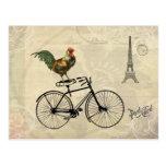 Vintager Hahn, der ein Fahrrad durch den Postkarten