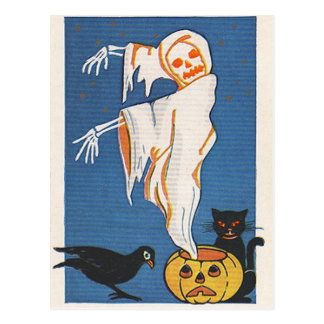 Vintager Halloween-Geist Postkarte