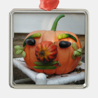 Vintager Halloween-Kürbis Quadratisches Silberfarbenes Ornament