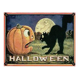 Vintager Halloweenkürbis u. -katze im Mosaik Postkarte