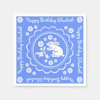 Vintager Häschen-Kaninchen-blauer weißer Servietten