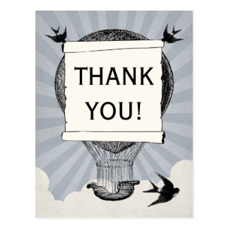 Vintager Heißluft-Ballon danken Ihnen Hochzeit Postkarte