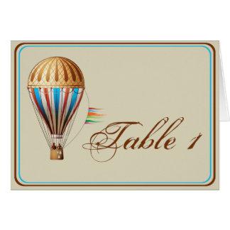 Vintager Heißluft-Ballon-Wedding Tischnummer Karte