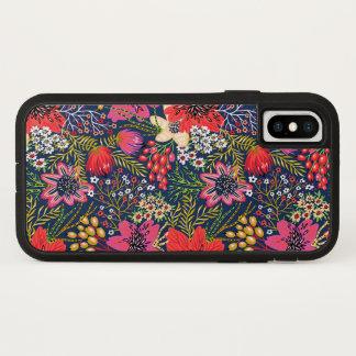 Vintager heller Blumenmuster-Gewebe iPhone X Fall iPhone X Hülle