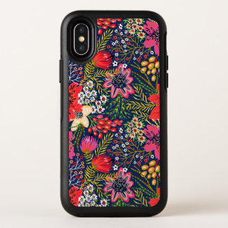 Vintager heller Blumenmuster-Gewebe iPhone X Fall OtterBox Symmetry iPhone X Hülle