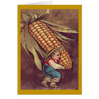 Vintager Herbstjunge mit Mais Karte