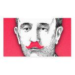 Vintager Herr mit dem lustigen rosa Schnurrbart Visitenkarten Vorlagen