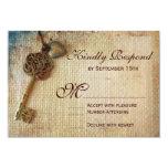 Vintager Herz-Schlüssel-rustikale Individuelle Einladungskarte