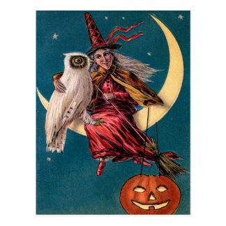 Vintager Hexe-und Eulen-glücklicher Halloween-Gruß Postkarte