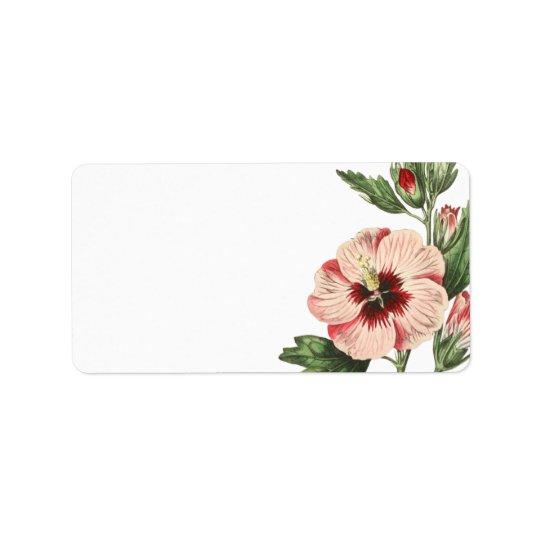 Vintager Hibiskusleere Mailings-mit Blumenaufklebe Adressetiketten