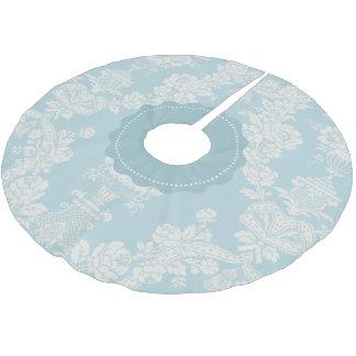 Vintager Himmel-Blau-eleganter Blumendamast Polyester Weihnachtsbaumdecke