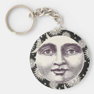 Vintager himmlischer Schwarzweiss-Mond Schlüsselanhänger