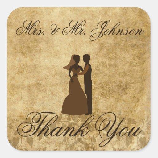 Vintager Hochzeit Braut-Bräutigam danken Ihnen Stickers