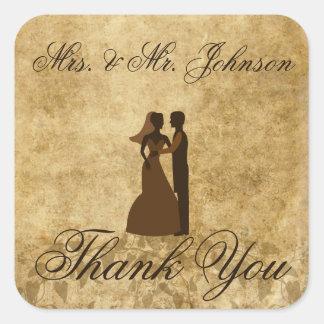 Vintager Hochzeit Braut-Bräutigam danken Ihnen Quadrat-Aufkleber