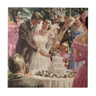Vintager Hochzeits-Braut-Bräutigam-Jungvermählten- Fliesen
