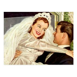 Vintager Hochzeits-Jungvermählten-Braut-Bräutigam Postkarte