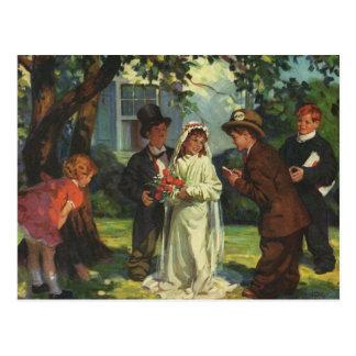 Vintager Hochzeits-Kinderbraut-Bräutigam täuschen Postkarten