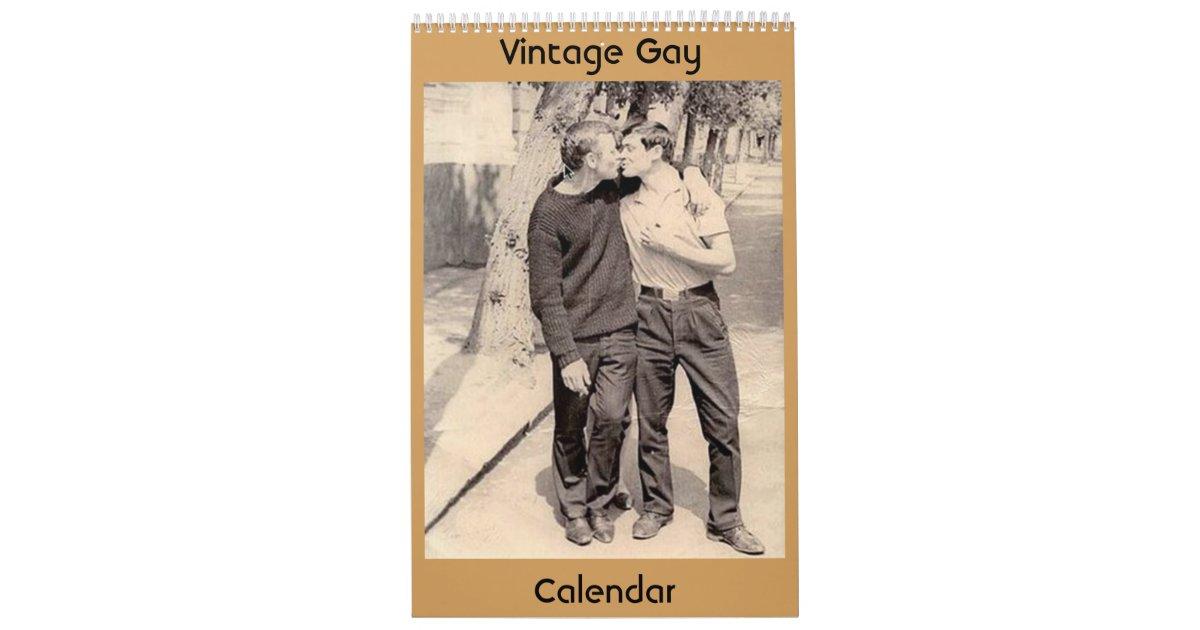 Vintager Homosexuell-Kalender Wandkalender | Zazzle
