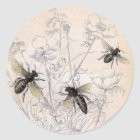Vintager Honig-Bienen-Kunst-Druck Runder Aufkleber