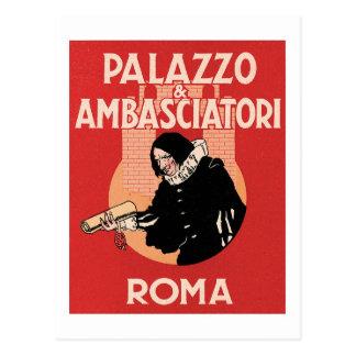 Vintager Hotel-Aufkleber Reise-Roms Italien Postkarte