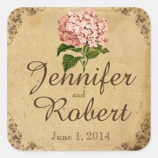 Vintager Hydrangea-Hochzeits-Umschlag Aufkleber