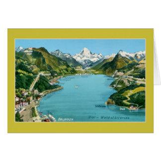 Vintager illustrierter Karte See Luzerne