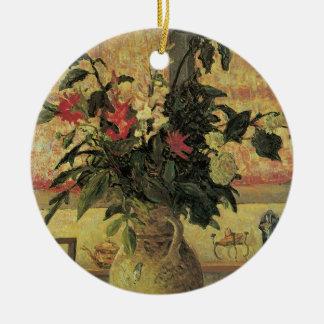 Vintager Impressionismus-Blumenstrauß der Blumen Rundes Keramik Ornament