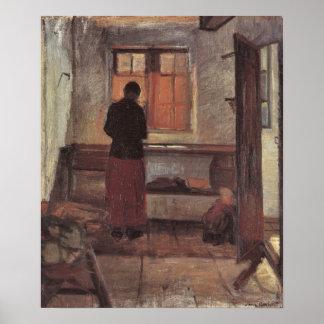 Vintager Impressionismus, Mädchen in der Küche, Poster