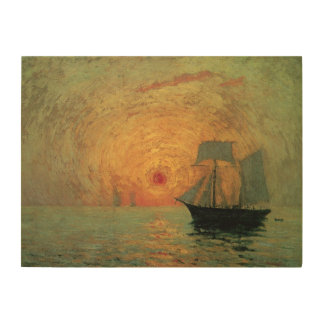 Vintager Impressionismus, roter Sun durch Maxime Holzleinwand