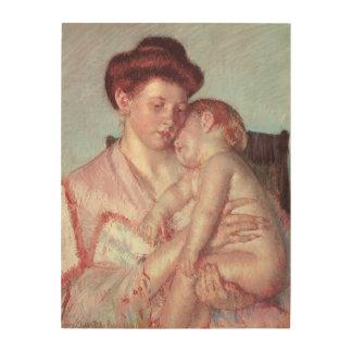 Vintager Impressionismus, schläfriges Baby durch Holzwanddeko